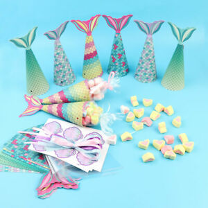 12x-Paper-Mermaid-Gift-Bags-Sweet-Treat-Box-Little-Mermaid-Birthday-Party-Supply