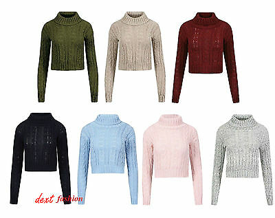 Nouveau Femmes Haut à encolure POLO Chunky Câble Tricot Pull crop pull-over Sweater Top