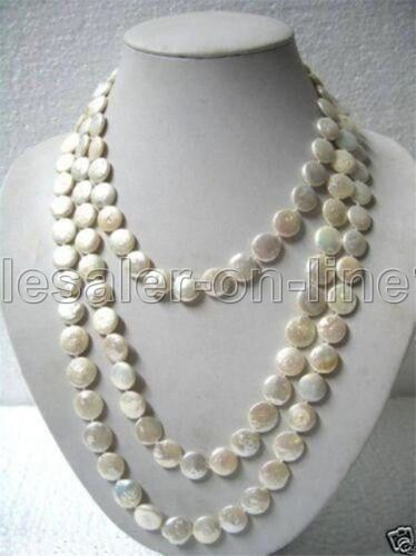"""Beautiful 12MM Natural White Coin Freshwater Pearl Necklace 33/"""""""