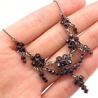 Antique Victorian Era 925 Sterling Silver Genuine Garnet Handmade Necklace