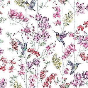 Image Is Loading FLORAL CHARM HUMMINGBIRD WALLPAPER WHITE HOLDEN 12390
