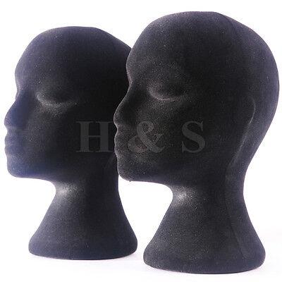 2x Polystyrene Female Mannequin Head Dummy Wig Stand Shop Display Hat Cap Black