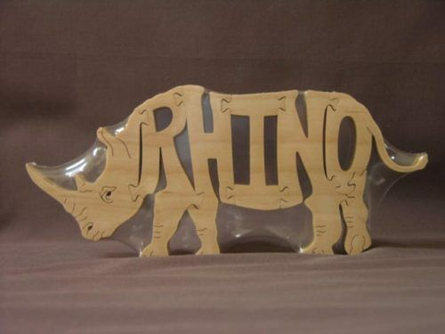 Rhino Rhinoceros Zoo Animal Wooden Puzzle Amish Scroll Saw Toy
