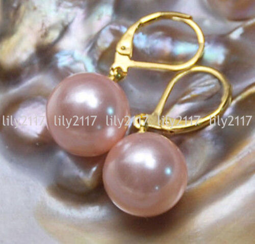 4colors 8//10//2//14mm South Sea Shell Pearl Round 14KGP Leverback Dangle Earrings
