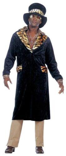 """Deluxe 70s 80s Big Daddy Pimp Cappotto in velluto cappello Men/'s Fancy Dress Costume XL 46/"""""""