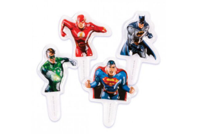 Justice League Cupcake Picks - Cake Decorating Toppers (8 Pack)