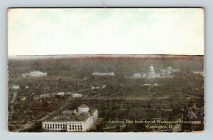 Washington-DC-Washington-Monument-Aerial-Capitol-Vintage-Postcard-Z32