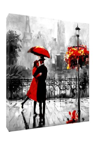 COUPLE WITH RED UMBRELLA IN PARIS BLACK WHITE BACKGROUND PRINT CANVAS PORTRAIT