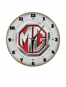 "MG MARQUE 250MM//10/"" DIAMETER METAL WALL CLOCK,GARAGE CLOCK,WORKSHOP CLOCK."