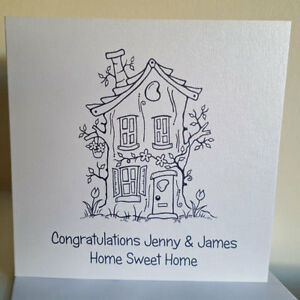 Pearlescent Handcrafted Personalised New Home Card UK Seller