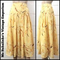 Vintage 1980s Yellow Floral Pattern Dropped Waist Midi Skirt Size 10 Boho Grunge