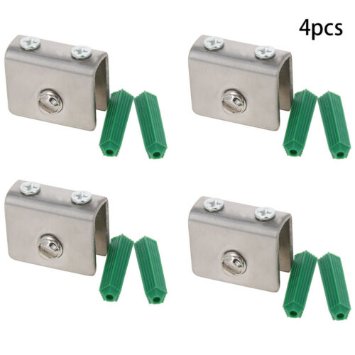 4Pcs Glass Shelf Clamp Bracket Clip Wall Mounted Rectangular Stainless Steel