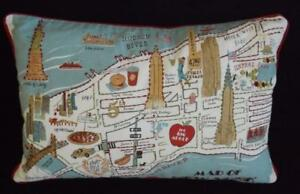 Map Of New York City With Landmarks.Map Of New York City Landmarks Rectangular Decorative Embroidered