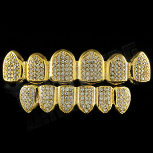 18K-Gold-Plated-CZ-Micro-Pave-Top-Bottom-CUSTOM-GRILLZ-SET-Mouth-Teeth-Grills