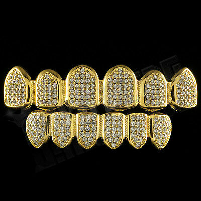 18K Gold Plated CZ Micro Pave Top Bottom CUSTOM GRILLZ SET Mouth Teeth Grills