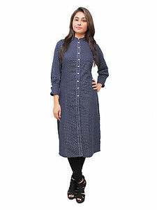 Vipakshi Women's Printed Blue Polka Dots Cotton Long Kurti (RS-7800 V)