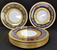 "8 Antique Crown Staffordshire China Plates Gold & Cobalt Blue 10 1/4"" Diameter"