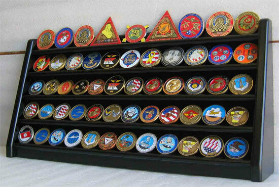 5 Row Military Challenge/Casino Coin Display Rack Case Cabinet Stand:  Coin5-BLA