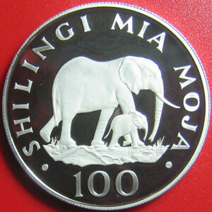 1986-TANZANIA-100-SHILINGI-SILVER-PROOF-ELEPHANTS-ELEPHANT-MOTHER-CALF-WILDLIFE