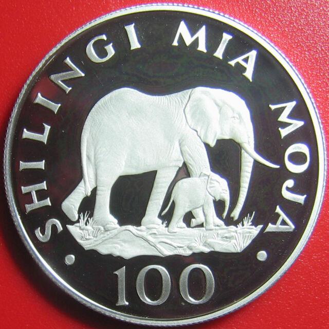 1986 TANZANIA 100 SHILINGI SILVER PROOF ELEPHANTS ELEPHANT MOTHER CALF WILDLIFE