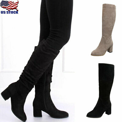 Women's Block Heel Boots Calf High Faux Suede Zip Up Stretchy Boots Ladies Mid L
