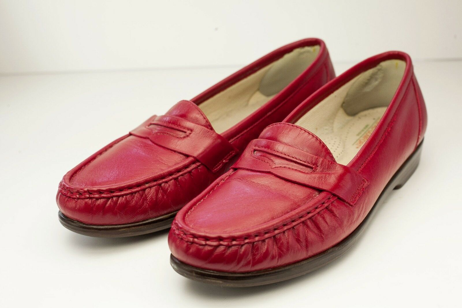 SAS 8.5 Narrow Red Slip On Penny Loafers Women's shoes