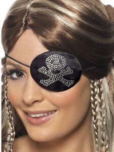 Schwarz-Strass-Augenklappe-Pirat-Erwachsene-Hoher-See-Kostuem-Zubehoer
