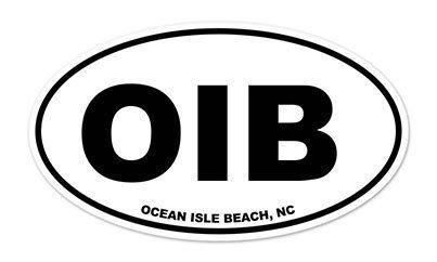 """Ocean Isle Beach OIB NC Oval White car window bumper sticker decal 5/"""" x 3/"""""""
