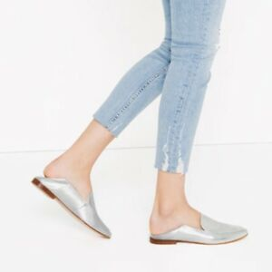 b41247fe762 Image is loading Zara-Silver-Laminated-Leather-Loafers-Mules-Slides-Sz-