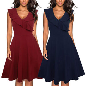 Women's V Neck Elegant Ruffle Swing Casual Formal Office Work Summer Midi Dress