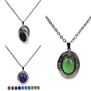 Change-Oval-Emotion-Pendant-Necklace-Chain-Stone-Mood-Vintage-Color