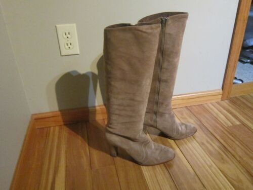 """Golo Tan Suede Leather 17.75"""" tall Zip on  Boots"""