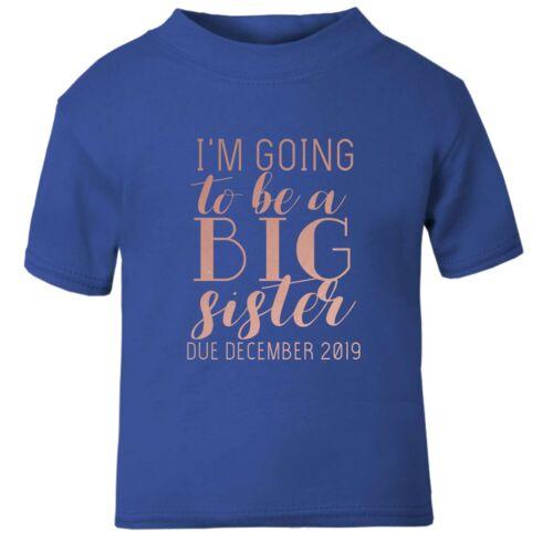 Or Rose Je vais être une grande soeur personnalisé date BABY T Shirt Baby annoncer