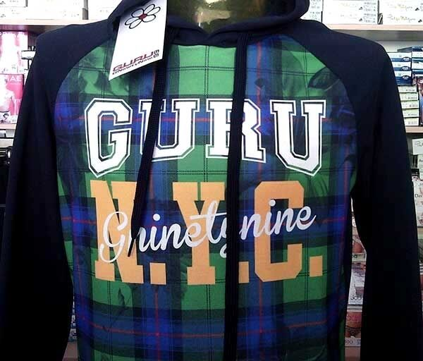 Men's sweatshirt Guru closed with application front and logo printed art G99079