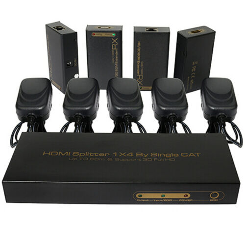 4 Port HDMI UTP Extender 1X4 Splitter by cat5e//6 Cable up to 60m with 4 Receiver