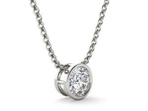 Diamond-Pendant-Solitaire-Bezel-Set-1-00-CT-Round-18-034-Necklace-Solid-925-Silver