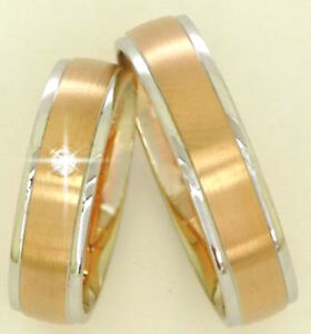 Brillant-Eheringe-Trauringe-Anfertigung-585-Gold-14-Kt-Rot-amp-Weissgold-Massiv