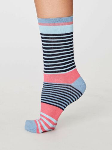 Thought Bamboo Navy Blue Pink Stripes Socks Anti-Bacterial Size 4-7 SPW286