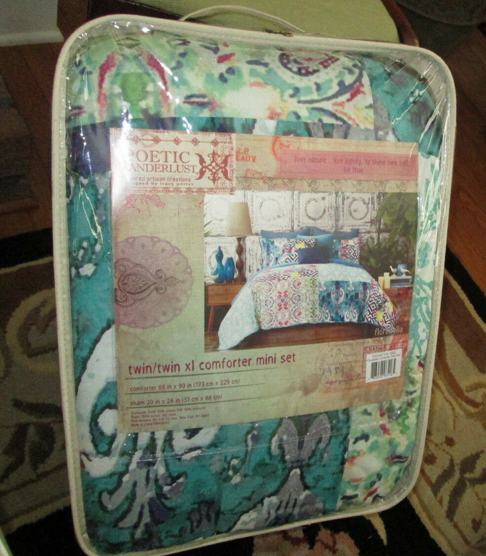 TRACY PORTER Twin Comforter Set 2PCS POETIC WANDERLUST FLORABELLA blueE TEAL