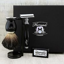 Conjunto De Afeitar Negro Badger Cepillo & Safety Razor Clásico Grooming Kit de regalo para él