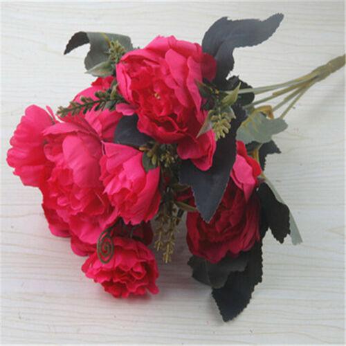 Fake Silk Peony Artificial Flowers Peony Wedding Bouquet Home Party Decor