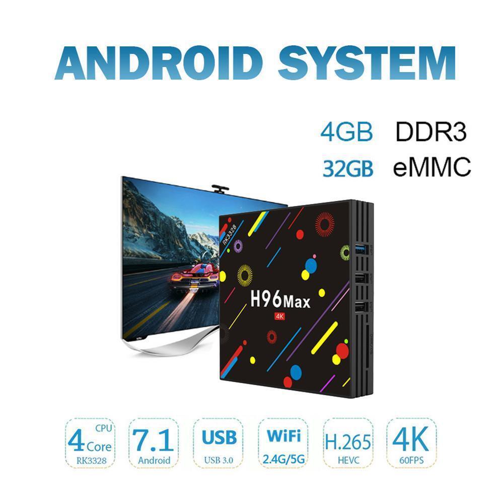 H96 MAX H2 Mini TV Box Android 7.1 RK3328 Quad Core WiFi HD 4G+32G 4K Player