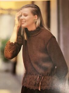 Womans-Knitting-Pattern-DK-Jersey-with-a-Lacy-Peplum