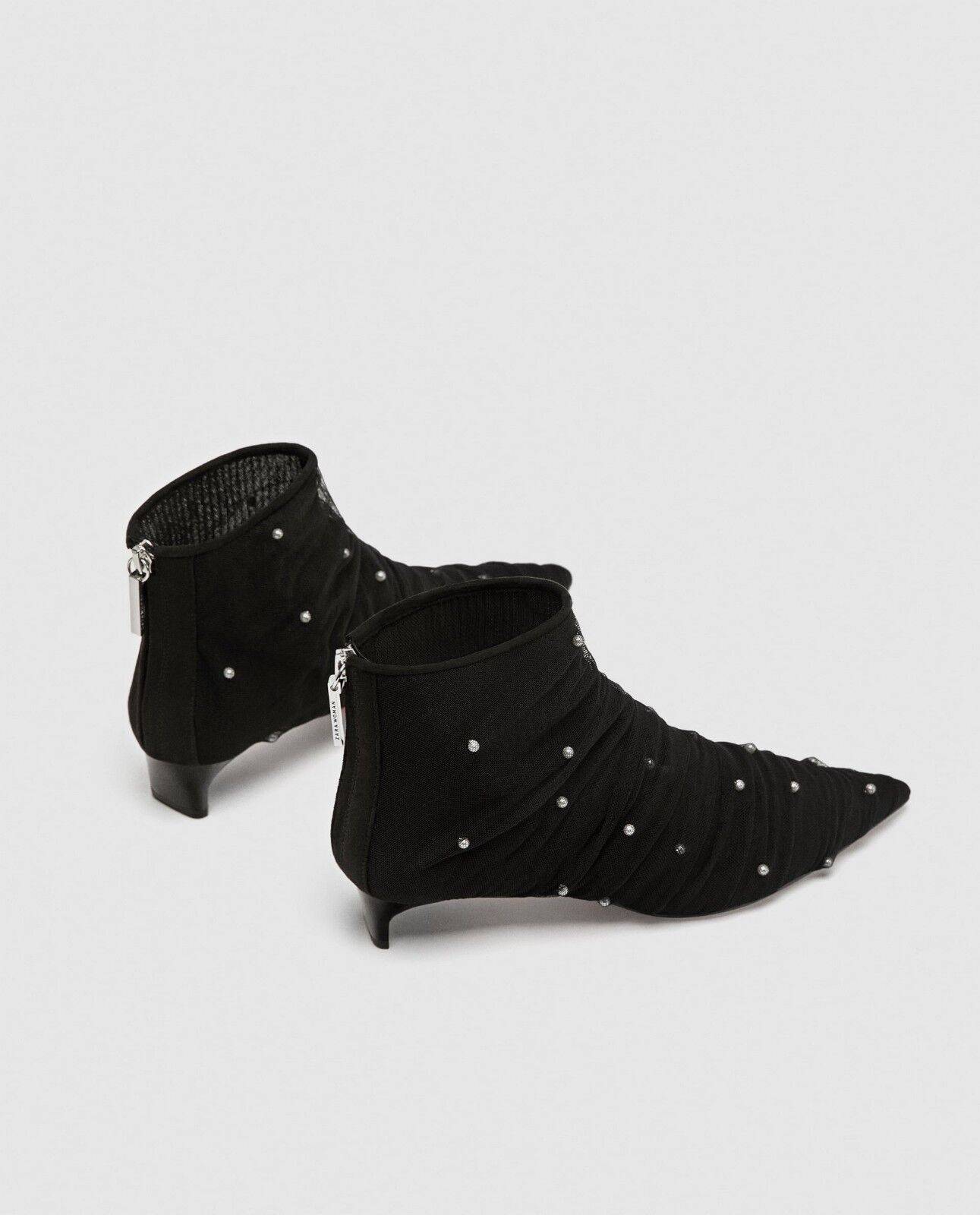 ZARA TULLE ANKLE BOOTS BOOTS BOOTS WITH FAUX PEARLS US 6   Euro 36 cb04d5
