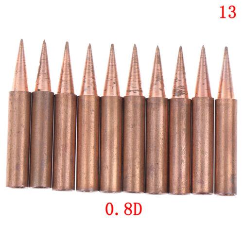 10pcs//lot 900M-T-K Diamagnetic copper soldering iron tip Lead-free Solder tip TD
