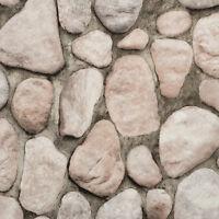 Modern Rustic River Rock Dark Gray Tones Stone Wall Textured Wallpaper Rn1067