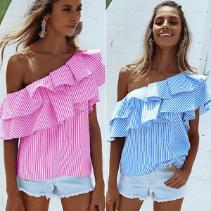 Damen-Gestreift-Bluse-Rueschen-Schulterfrei-Tunika-Oberteil-Hemd-Shirt-Pullover
