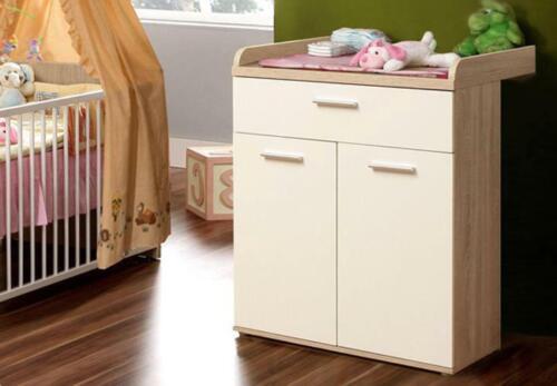 Babyzimmer WINNIE 4-teilig Sonoma Eiche und weiß Babybett Wickelkommode Schrank