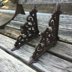 1Pair-Vintage-Antique-Cast-Iron-Brackets-Garden-Brace-Rustic-Shelf-Bracket-Brown