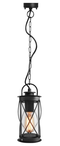 Outdoor Hanging Lantern Light Black Metal Clear Cover With Chain And Fixings 013